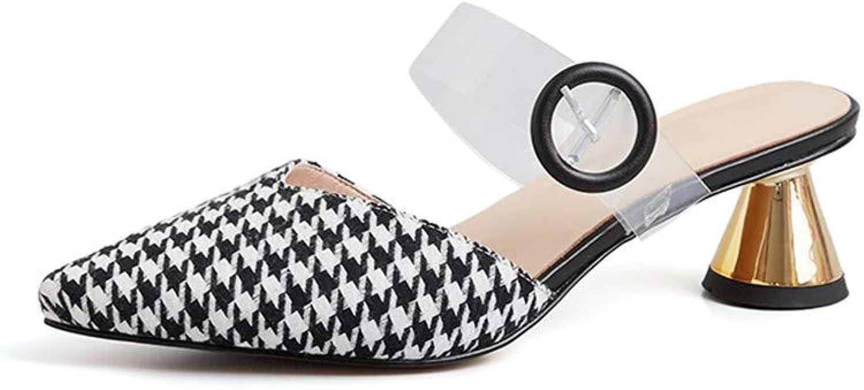 Nine Seven Genuine Leather Women's Pointed Toe Mid Strange Heel Slip On Fashion Handmade Mary Jane Women Pump shoes