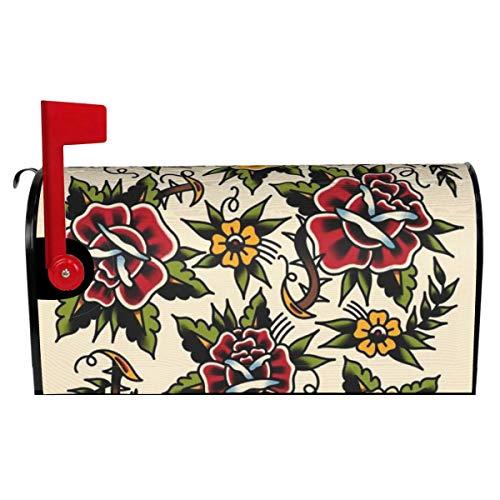 Briefkasten-Abdeckung mit Blumen-Motiv, Tattoo-Briefkasten-Abdeckung für Garten, Hof, Außendekoration, Standardgröße 53,3 cm L x 45,7 cm B