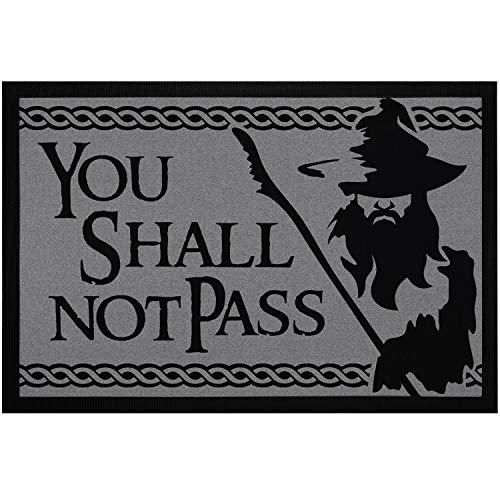 "MoonWorks® - Felpudo con texto en inglés ""You Shall not Pass Fantasy Serie Antideslizante & Lavable"", 60 x 40 cm, color negro"