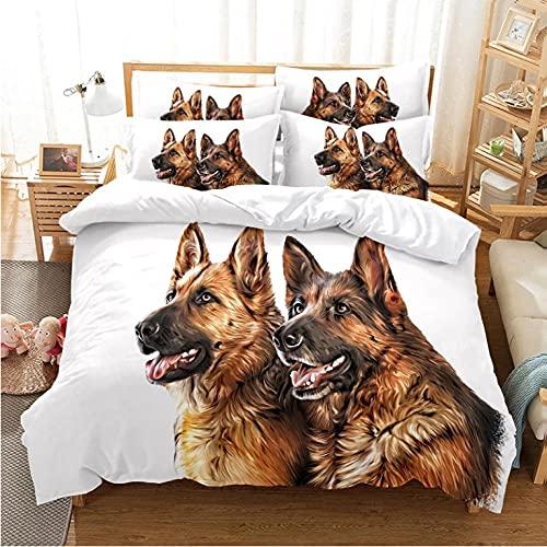 Set biancheria da letto per ragazzi 3 pezzi in morbida microfibra traspirante 3D due cani Copripiumini,copripiumino 1 volta con cerniera-220x240cm + 2 federe 80x80 cm