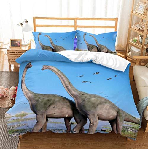 Juego De Ropa De Cama Dinosaurio Azul Gris Funda De Edredón 260 x 240 cm,Microfibra Funda nórdica Muy Suave Hipoalergénica Transpirabl,para niños y Adolescentes niños y niñas