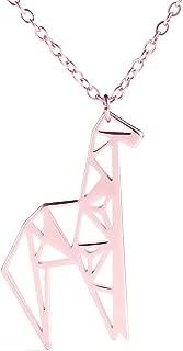 Cute Tiny Giraffe Necklace Hollow Geometric Charm Animal Metal Pendant Jewelry
