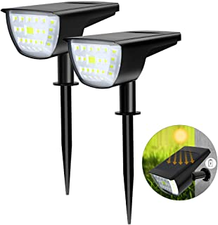 WAKYME 32 LED Solar Landscape Spotlight, 2-in-1 Solar Wall Light IP67 Waterproof Solar Landscape Light Outdoor for Yard Garden Porch Walkway Driveway Pool Patio Cool White 2 Pack