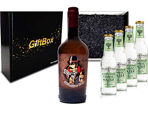 Gin Tonic Giftbox Geschenkset - Gin del Professore Monsieur 0,7l 700ml (43,7% Vol) + 4x Fever Tree Elderflower Water 200ml inkl. Pfand MEHRWEG - [Enthält Sulfite]
