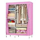 ZZBIQS Armario con compartimentos y bolsillo lateral, armario de tela con barras para ropa, almacenamiento para ropa,...