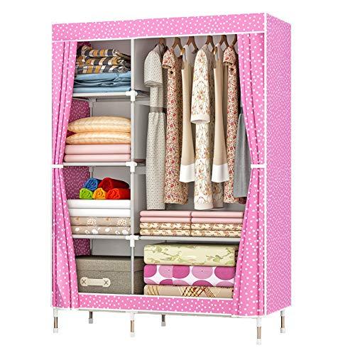 ZZBIQS Armario con compartimentos y bolsillo lateral, armario de tela con barras para ropa, almacenamiento para ropa, perchero, vestidor, dormitorio (lunares rosas)