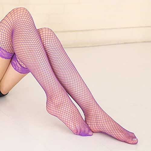 QSMIANA Medias Hosiy Sexy De Las Mujeres Se Mantiene En El Muslo Altos Medias Damas Huecos De Malla Redes De Malla Medias De Red Negro Rojo Nylon Pantyhose-Purple