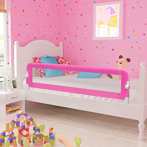 Kinder Bettschutzgitter, Bettgitter Rausfallschutz beim Schlafen Klappbar passend für Baby-Kinder-Eltern-Bette (150x42cm, Rosa)