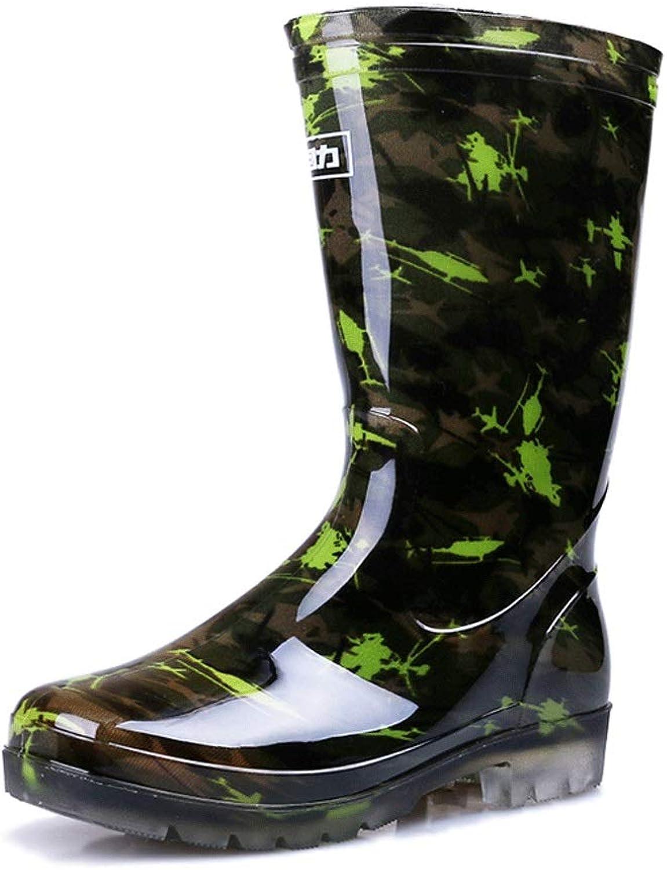 Regenstiefel- Herren Herren Herren Camouflage Regen Stiefel plus Samt Wasser Schuhe Regen Stiefel hohe Schlauch Set Schuhe Gummi Schuhe wasserdichte Schuhe Männer ( Farbe   Camouflage two-Farbe A , größe   41 )  8bb463