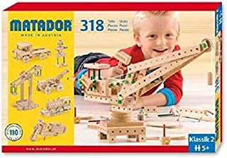 KSM Toys Matador Classic 2 - 318 Piece 3-D Wooden Construction Set for Builders Ages 5 to 12 (Made in Austria)