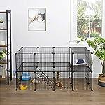 SONGMICS Enclos modulable pour Petits Animaux, Cage intérieur, 2 Niveaux, Maillet en Caoutchouc Offert, Cochon d'Inde, Lapin, Assemblage Facile, 143 x 73 x 71 cm (L x l x H), Noir LPI02H #1