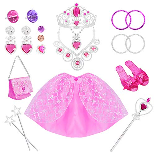 21 Pack Princess Pretend Jewelry Girl's Toys, Girl's Jewelry Dress Up Play Set,Birthday Party Supplies Included Crowns,Necklaces,Wands,Rings,Earrings