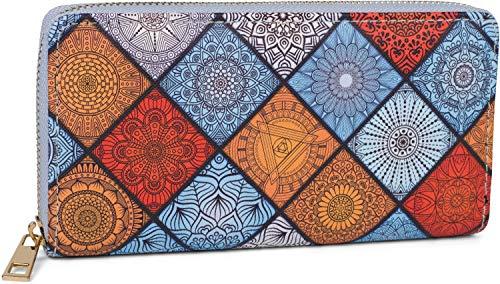 styleBREAKER Billetera para Damas con patrón de Adorno de Verano Indio, Estilo Mandala, Cremallera, Billetera 02040144, Color:Azul-Naranja-Blanco