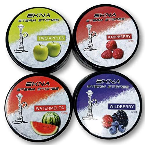 EKNA® Steam Stones Fruchtmix-Set 4 x 120g - Shisha Steine Nikotinfrei - Tabakersatz Shisha - Dampfsteine mit intensivem Geschmack (4er-Set No2)