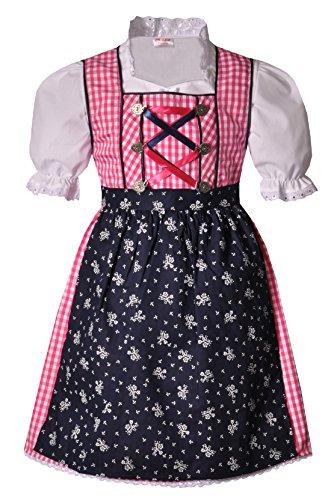 Coala Kinderdirndl Eisenheim pink dunkelblau 3 TLG, Gr. 134/140