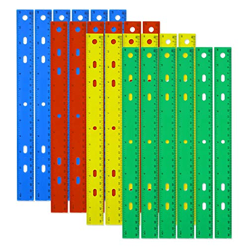 24 Pack of Trail maker Plastic 12 Inch Rulers in Bulk Wholesale Set in 4 Assorted Colors for School Classrooms, Teachers, and Parents (24 Pack)