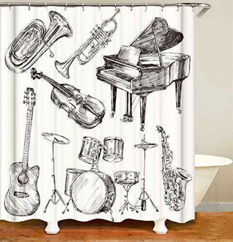 ZZZdz Gitaar. Drums. Piano. Viool. Waterdicht. Eenvoudig te reinigen. 12 vrije haken. 3D Hd Afdrukken. Niet vervagen. Douchegordijn 180X180 Cm.