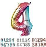 PARTY Globos de Cumpleaños - Número Grande en Multicolor Metalizado - Fiesta de cumpleaños y Aniversarios - Gigante 105 cm - Hinchable - Tamaño XXL (4-Multicolor)