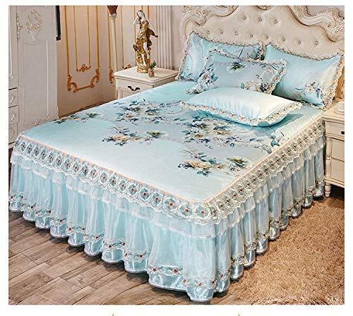 YYCHJU Lujosas Faldas de Cama de Verano, Colcha fría como el Hielo, colchón de Encaje de Capa Doble/Individual, Funda de colchón Lavable a máquina.(Color: F, tamaño: 200 * 220 CM)