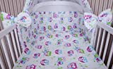 Amilian® Baby Bettwäsche 135/100 + 40/60-2tlg Kinderbettwäsche Bettset Eule weiß