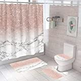 Dream Marmor Stoff Duschvorhang Set, Spritzwassergeschützter, Schimmelresistenter Polyester Badvorhang 12 Haken, Badteppich, Toilettendeckelabdeckung, U-Förmiger Teppich