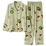 xiaokeai Suave Camisón Las Mujeres Pijamas Set otoño Aguacate Impreso Ropa de Noche Turn-Down Collar Pijama Comfort Puro y la Naturaleza Inicio Traje Cómodo Camisones (Color : Green, Size : XXL Size)