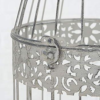 CasaJame Maison mobilier Décoration Accessoires Design Ensemble de 2 Cages à Oiseaux Décoratives Shabby Chic Style Vintage Fer Gris Clair Hauteur 18/24 cm Ø 10/13 cm