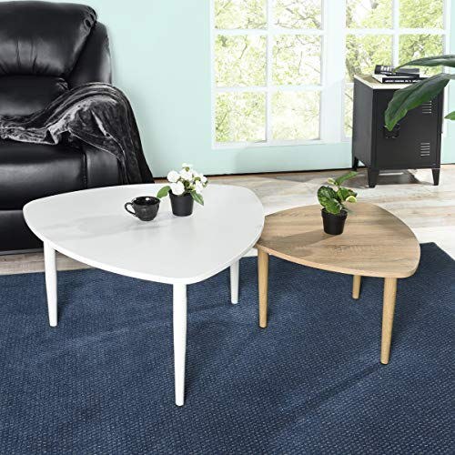 FURNISH1 Set of 2 Retro Tables White Wood and Oak Colour Coffee Table Sofa Side Table Living Room Large Table 80 x 80 x 45 cm Small Table 60 x 60 x 37 cm