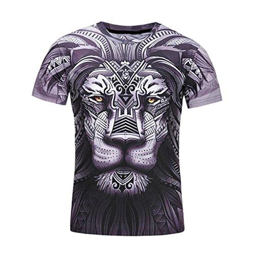Baumwolle Lion gedruckt Thema T-Shirt Rundhalsausschnitt Shirt Sommer Top,Schwarz Grau,XL