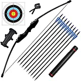 Recurve Bow and Arrow for Adults - 40 lbs Archery Bow Set for Teens with Quiver Target Faces Arm Guard Finger Saver, Takedown Longbow Kit with 9 Arrows for Outdoor Hunting Training Right Hand