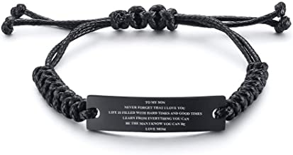 MEALGUET Stainless Steel Handmade Black Adjustable Cord Inspirational Courage Quote to My Son Bracelets to Boys,Birthday Graduation Gift