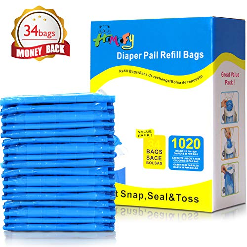 HOMOFY Diaper Pail Refill Bags 34 Bags Holds Up to 1020 Diapers Fully Compatible with Arm&Hammer Disposal System Seal and Toss Diaper Pail Refills