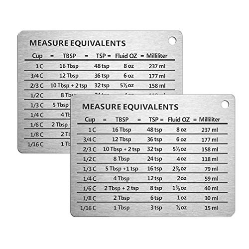 2PCS Professional Measurement Refrigerator Magnet in 18/8 Stainless Steel,Conversion Chart with Strong Magnet Backing
