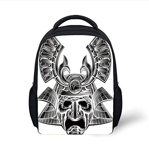 Kids School Backpack Japanese,Vintage Ancient Experienced Japanese Soldier Mask with Royal Lines and Shapes,White Black Plain Bookbag Travel Daypack