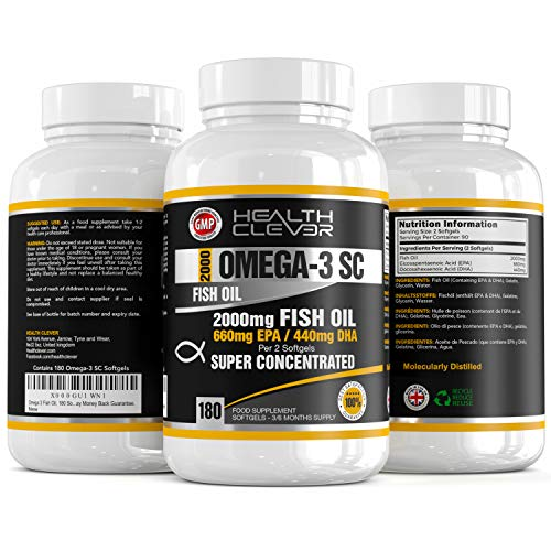 HC Omega 3 Fish Oil 2000mg Supplement - 180 Triple Strength Soft Gels with 660mg EPA & 440mg DHA Formula - Reduces Joints Inflammation & Increases Mobility - GMP Manufactured - Made in The UK