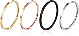 yfigo 4pcs Titanium Stainless Steel Women Plain Stacking Rings Knuckle Bands Classic Wedding Bands Silver-Gold-Rose Tone-B...