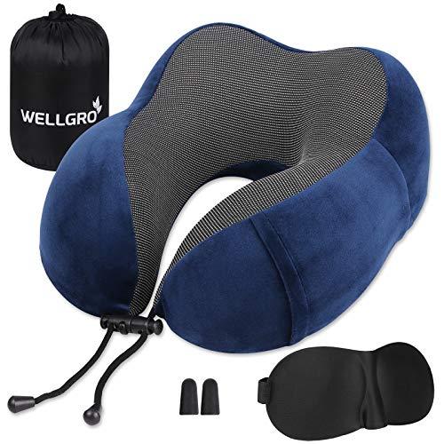 WELLGRO Nackenkissen Set mit 3D Schlafmaske und Ohrstöpsel - Abnehmbarer Bezug - Memory Schaum - Reißverschluss - inkl. Aufbewahrungstasche - Reisekissen - Farbe wählbar, Farbe:Dunkelblau