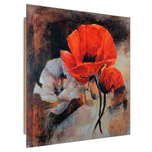 Tableau décoration florale coquelicots rouge blanc - 80?80 cm - pour chambre