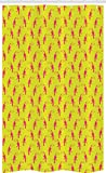 ABAKUHAUS Fuchsie Schmaler Duschvorhang, Tropical Toucan Zahlen, Badezimmer Deko Set aus Stoff mit Haken, 120 x 180 cm, Pink & Gelb
