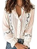 Femmes Elégantes à Volants Blouses Evider Crochet Points de Fleurs Lanterne Manches Chemises Hauts Femmes Blouse Chemise Haut pour Printemps Automne (Blanc, XL)