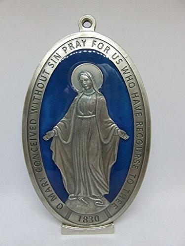 60.878.31Base miracolosa Medalla Virgen Maria miracolosa Original + Logo orando Inglés plateado tamaño 16cm esmaltado a mano sobre base soporte
