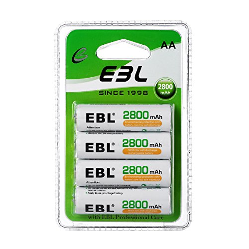 EBL 4Packs AA Batteries Rechargeable 2800mAh High Capacity Double Rechargeable AA Ni-MH Battery New Retail Package