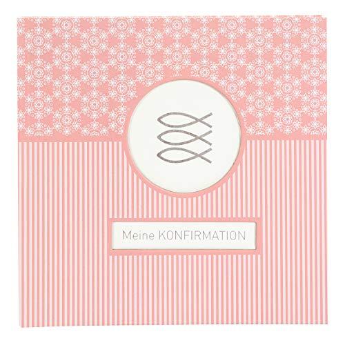 goldbuch Fotoalbum für die Konfirmation, Mandala, 25x25 cm, 60 weiße Seiten, 4 Seiten Textvorspann, Kunstdruck, Weiß/Koralle, 03 145
