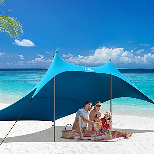 AKASO Beach Tent, Portable Beach Canopy Sun Shelter UPF50+ for 6-8 People, for Beach, Camping Trips,...