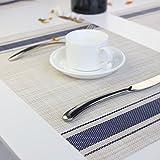 Eageroo 6er Set 30 x 45 cm Platzdeckchen Abwaschbar Tischmatte PVC Abgrifffeste Platzsets Anti-Rutsch Tischset für Den Esstisch, Blau - 3