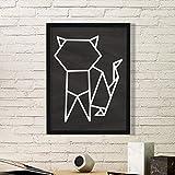 DIYthinker Resumen de Origami Gato Forma geométrica Arte Pintura Foto de la Imagen del rectángulo de Madera del hogar del Marco Regalo decoración de la Pared Medio Negro