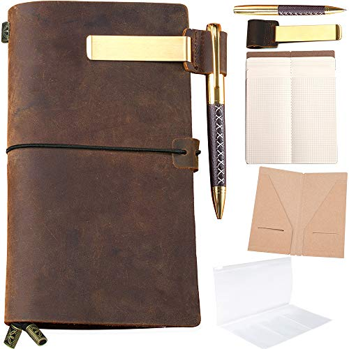 Refillable Leather Journal Refillable Travelers Notebook for Men 8.5 x 4.5 Leather Travel Journal with 5 Inserts Travel Diary Planner for Women Vintage Antique TN Standard Notebooks