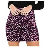 QinMMROPA Falda Corta de Leopardo para Mujer Mini Falda de lápiz Sexy de Cintura Alta Rosa M(EU36)