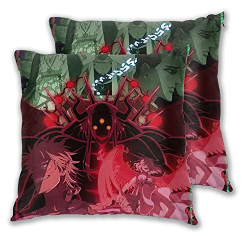 Black Clover 6- Set of 2 Decorative Square Throw Pillow Cases for Bedroom and Sofa, Soft Solid Cushion Covers for Couch and Car, 18'X18'