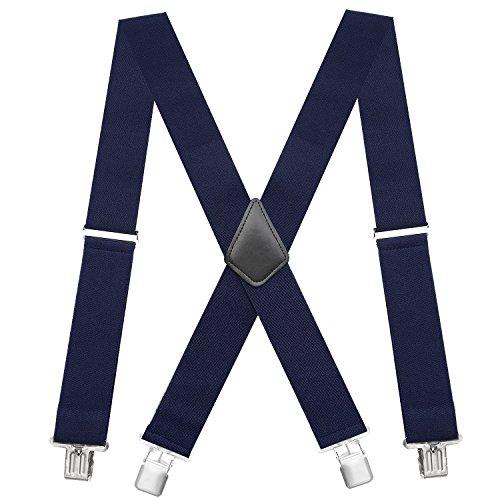 Chalier Elastische 5cm breite Hosenträger, 4 Starken Clips X-Form, Herren & Damen MEHRWEG